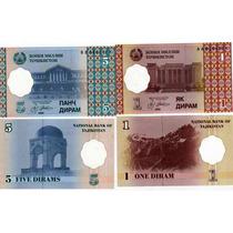 2 Billetes Tajikistan De 1 Y 5 Diram Año 1999 Sin Circular
