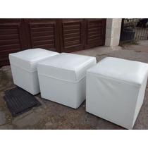 Puff Cubos Eco Cuero Blancos Usado En Buen Estado De 40 X 40