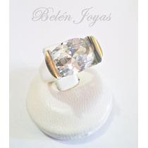 Anillo De Plata 925 Y Oro 18k Con Piedra Blanca