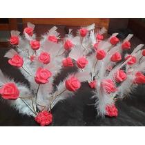Combo10 Centros De Mesa Rosas Con Pluma Casamiento Boda