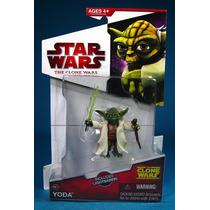 Star Wars Clone Wars 2009 Figura De Yoda Con Capa De Tela!!