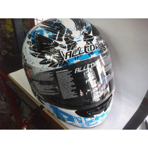Casco Integral All Top 95 C/graficos Blanco Y Azul