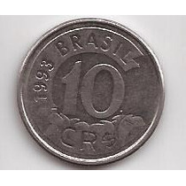 Brasil Moneda De 10 Cruzeiros Reais Año 1993 !!