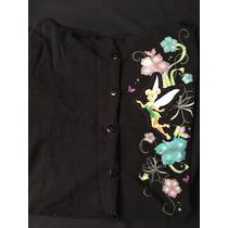 Vestido Negro Algodon Manga Larga Tinkerbell 10-12 Niñas