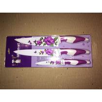 Set 3 Cuchillos Teflon Decorados Regalo Navidad Cumpleaños