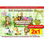 Kit Imprimible Candy Bar Animalitos De La Selva (2x1) 1añito