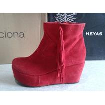 Zapatos Gamuzado Con Plataforma Talle 37 Color Rojo