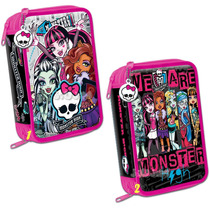 Cartuchera Escolar 3 Pisos Monster High Lic. Original Jiujim