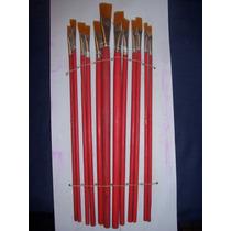 Set De 12 Pinceles Chatos ---artistica Acrilico Oleo