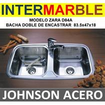 Pileta Cocina Doble Bacha Johnson Zara D84a 83x47x18 Encastr