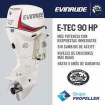 Motor Nautico Fuera De Borda Evinrude E-tec 90hp 5 Años Gtia