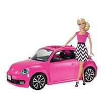Muneca Barbie Con Su Volswagen Con Muneca Incluida De Mattel