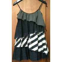 Vestido Diseño Gasa Combinada Encaje Volados Hermoso!