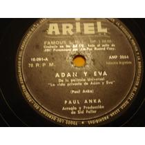 Paul Anka Disco Pasta 78 Rock Lp Simple Adán Y Eva