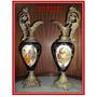Par De Ánforas De Porcelana Y Bronce Labrado (1446)