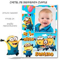 Minions Cartel De Bienvenida Cumpleaños Personalizado Divino