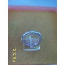 Anillo En Metal Plateado C/ Piedras
