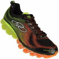 Zapatillas Olympikus Modelo Running Eros Negro/naranja/verde