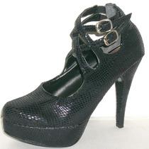Zapatos Stilettos Plataforma Taco 11 Cm Reptil Sandalias