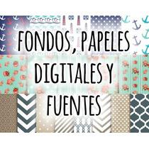 Kit Imprimible Pack De Papeles Digitales Fondos Y Fuentes!!!