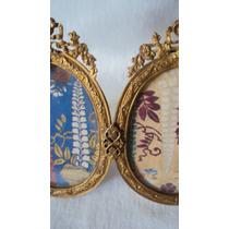 Muy Antiguo Portaretrato Doble Ovalado Bronce Dorado