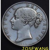 Crown. Moneda Antigua De Gran Bretaña Del Año 1845 Plata