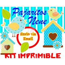 Kit Imprimible Pajaritos Nene Cumple Bautismo Baby Shower