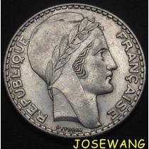 20 Francs, Moneda Antigua De Francia Del Año 1938 Plata