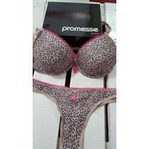 Conjunto Lenceria Push Up Promesse Leopardo Colaless