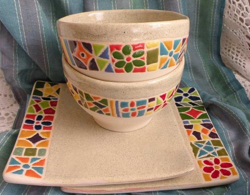 Vajilla de cer mica artesanal pintada a mano tazas a ars 122 en preciolandia argentina 8423tt - Platos ceramica colores ...