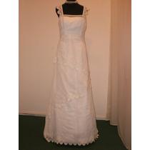 Vestido De Novia, Blanco , Tul Bordado Talle 42/44.
