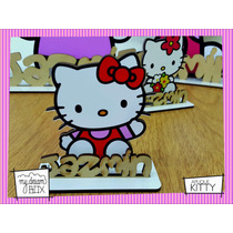 Souvenir Cumple Aplique Personalizad Madera 10cm Hello Kitty