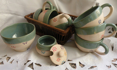 Vajilla de cer mica artesanal pintada a mano tazas a ars 122 en preciolandia argentina 8423tt - Vajilla ceramica artesanal ...