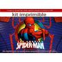 Kit Imprimible Hombre Araña Spiderman Personaliza Tarjetas