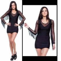 Vestido Negro Fiesta Lycra Al Cuerpo Con Flecos Y Microtul