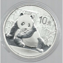 China 10 Yuan Panda 2015 Plata Prof