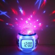Reloj Con Musica Y Proyección Estrellas Despertador Sonidos