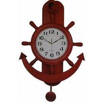 Reloj De Pared Con Pendulo Madera Maciza Modelo Nautico