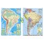 Mapa Mural Sudamérica Doble Faz - Físico/político 130 X 95