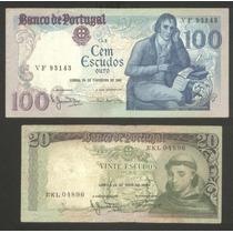 2 Billetes Portugal 20 Escudos 1964 Y 100 Escudos 1981