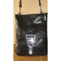 Cartera Bandolera No Prune/blaque Cuero Negro Doble Uso