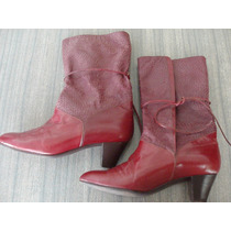 Botas Avella - Nro. 37 - Color Cereza Y Croco