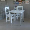 Mesa 70x70 Laqueada Patas De Acero Inox + 2 Sillas Laqueadas
