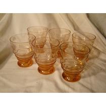 6 Vasitos De Cristal Tallado Naranjas Para Licor
