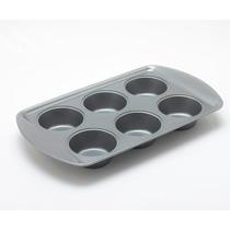 Molde Muffins Mufinera De Carbon Steel X 6 Con Manijas