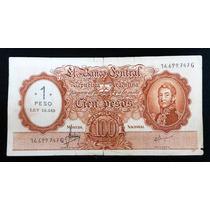 Billete 100 Pesos Moneda Nacional Resello A 1 Peso Ley 18188