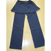 Calza Recta Con Pollera Azul T: 4 Al 16 Algodon Y Lycra