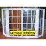 Ventana Bow Window Aluminio Blanco Repartido 150x150 + Rajas