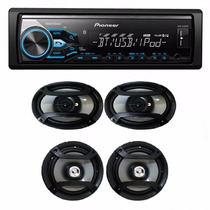Combo Stereo Pioneer Mvh 380 Bt Usb + 4 Parlantes Mod 2016