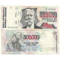 Billete 500.000 Australes Serie B 1991 Bottero 2903 Bueno
